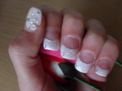 White Tip Acrylic Nails With Gems Acrylic Nails With White Tips